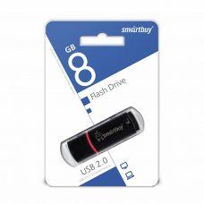 Флеш-накопитель USB 8Гб SmartBuy Crown, USB 2.0, черный