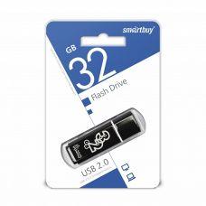 Флеш-накопитель USB 32Гб SmartBuy Glossy, USB 2.0, черный