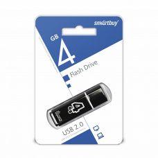 Флеш-накопитель USB 4Гб SmartBuy Glossy, USB 2.0, черный