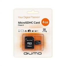 Флеш-накопитель MicroSD 4Гб QUMO Class 6 (С адаптером)