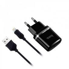 СЗУ USB HOCO C12 (2.4A) с Lightning кабелем, черный