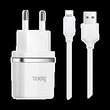СЗУ USB HOCO C12 (2.4A) с Lightning кабелем, белый