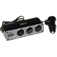Разветвитель прикуривателя WF 0096 3 выхода 1 USB