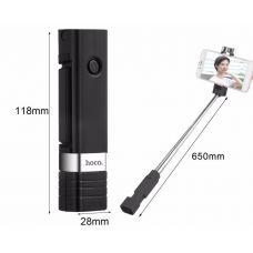 Монопод Hoco K4, Bluetooth, 65см, кнопка для съемки, черный